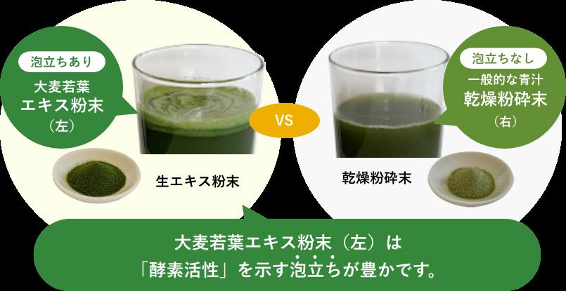 大麦若葉エキス粉末(左)は 「酵素活性」を示す泡立ちが豊かです。